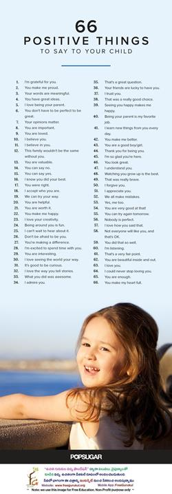 66PositiveThingsToSayToYourChild