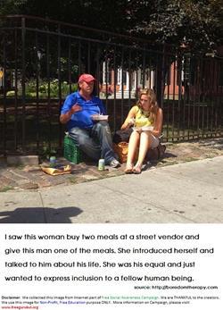 Humanity-HelpingToOldManByOfferingFood
